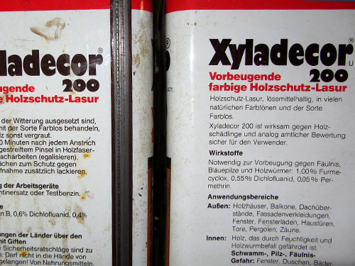 Xyladecor, Xylamon, PCP, Lindan, Dichlofluanid, Furmecyclox